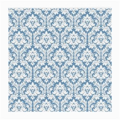 White On Light Blue Damask Glasses Cloth (medium, Two Sided) by Zandiepants