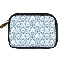 White On Light Blue Damask Digital Camera Leather Case by Zandiepants