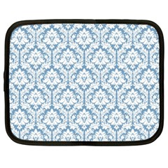 White On Light Blue Damask Netbook Sleeve (xxl) by Zandiepants