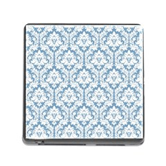 White On Light Blue Damask Memory Card Reader With Storage (square) by Zandiepants