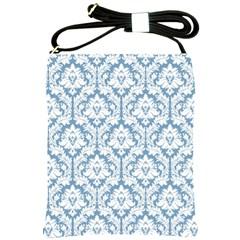 White On Light Blue Damask Shoulder Sling Bag by Zandiepants