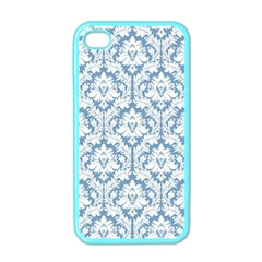 White On Light Blue Damask Apple Iphone 4 Case (color) by Zandiepants