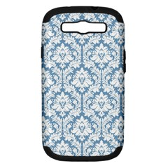 White On Light Blue Damask Samsung Galaxy S Iii Hardshell Case (pc+silicone) by Zandiepants