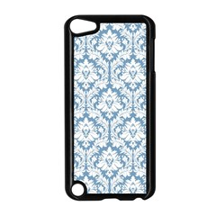 White On Light Blue Damask Apple Ipod Touch 5 Case (black) by Zandiepants