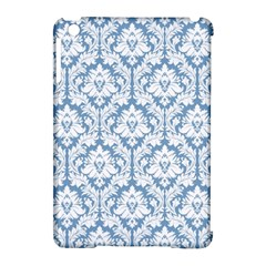 White On Light Blue Damask Apple Ipad Mini Hardshell Case (compatible With Smart Cover) by Zandiepants