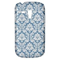 White On Light Blue Damask Samsung Galaxy S3 MINI I8190 Hardshell Case by Zandiepants