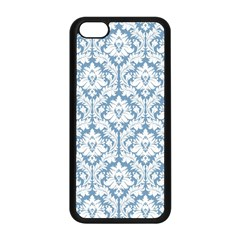 White On Light Blue Damask Apple Iphone 5c Seamless Case (black) by Zandiepants