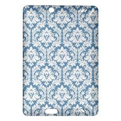 White On Light Blue Damask Kindle Fire Hd 7  (2nd Gen) Hardshell Case by Zandiepants