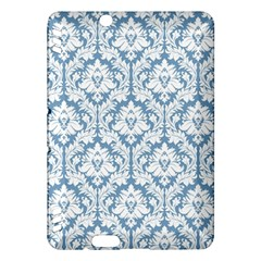 White On Light Blue Damask Kindle Fire Hdx 7  Hardshell Case by Zandiepants