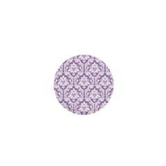 White On Lilac Damask 1  Mini Button by Zandiepants