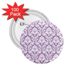 White On Lilac Damask 2 25  Button (100 Pack) by Zandiepants