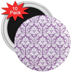 White On Lilac Damask 3  Button Magnet (10 Pack) by Zandiepants