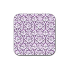 White On Lilac Damask Drink Coasters 4 Pack (square) by Zandiepants
