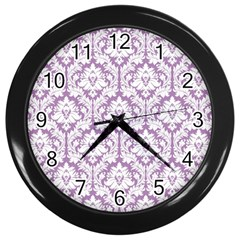White On Lilac Damask Wall Clock (black) by Zandiepants