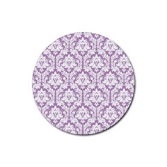 White On Lilac Damask Drink Coasters 4 Pack (round) by Zandiepants