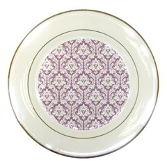 White On Lilac Damask Porcelain Display Plate by Zandiepants