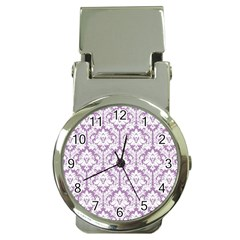 White On Lilac Damask Money Clip With Watch by Zandiepants