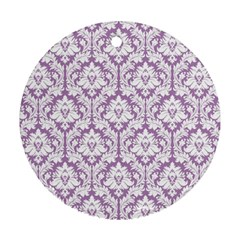 White On Lilac Damask Round Ornament (two Sides)