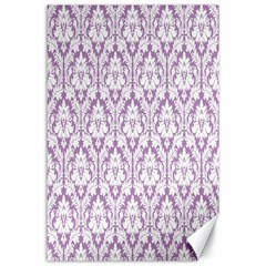 White On Lilac Damask Canvas 24  X 36  (unframed) by Zandiepants