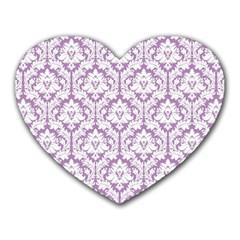 White On Lilac Damask Mouse Pad (heart) by Zandiepants