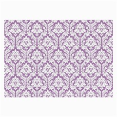 White On Lilac Damask Glasses Cloth (large, Two Sided) by Zandiepants