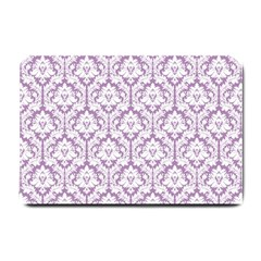 White On Lilac Damask Small Door Mat by Zandiepants