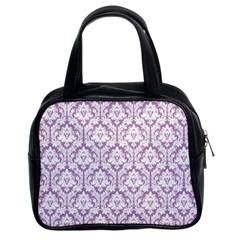 Lilac Damask Pattern Classic Handbag (two Sides) by Zandiepants