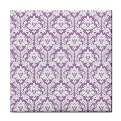 White On Lilac Damask Face Towel by Zandiepants