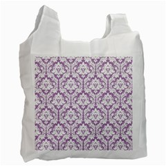 White On Lilac Damask White Reusable Bag (two Sides) by Zandiepants