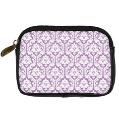 White On Lilac Damask Digital Camera Leather Case by Zandiepants