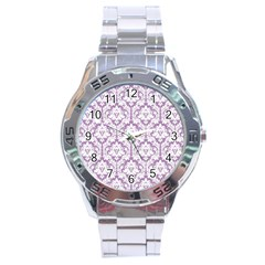 White On Lilac Damask Stainless Steel Watch by Zandiepants
