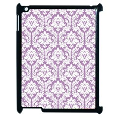 White On Lilac Damask Apple Ipad 2 Case (black) by Zandiepants