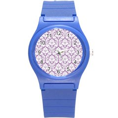 White On Lilac Damask Plastic Sport Watch (small) by Zandiepants