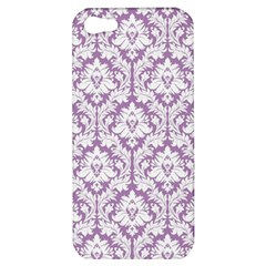 White On Lilac Damask Apple Iphone 5 Hardshell Case by Zandiepants
