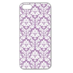 White On Lilac Damask Apple Seamless Iphone 5 Case (clear) by Zandiepants