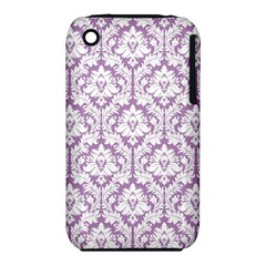 White On Lilac Damask Apple Iphone 3g/3gs Hardshell Case (pc+silicone) by Zandiepants