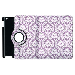 White On Lilac Damask Apple Ipad 2 Flip 360 Case by Zandiepants