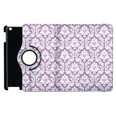 White On Lilac Damask Apple Ipad 3/4 Flip 360 Case by Zandiepants
