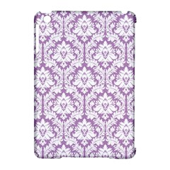 White On Lilac Damask Apple Ipad Mini Hardshell Case (compatible With Smart Cover) by Zandiepants