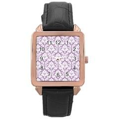White On Lilac Damask Rose Gold Leather Watch  by Zandiepants