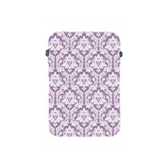 White On Lilac Damask Apple Ipad Mini Protective Sleeve by Zandiepants