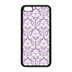 White On Lilac Damask Apple Iphone 5c Seamless Case (black) by Zandiepants