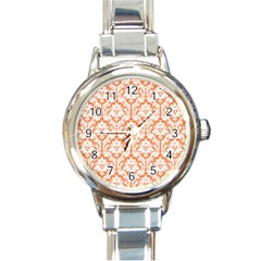 White On Orange Damask Round Italian Charm Watch by Zandiepants