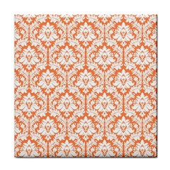 White On Orange Damask Ceramic Tile by Zandiepants