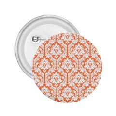 White On Orange Damask 2 25  Button by Zandiepants