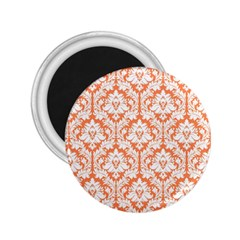 White On Orange Damask 2 25  Button Magnet by Zandiepants