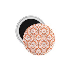 White On Orange Damask 1 75  Button Magnet by Zandiepants