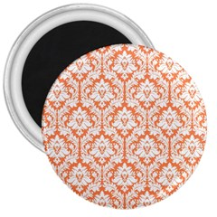White On Orange Damask 3  Button Magnet by Zandiepants