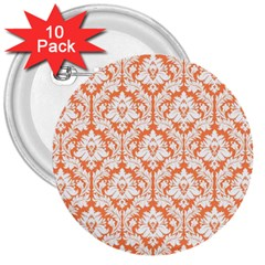 White On Orange Damask 3  Button (10 Pack) by Zandiepants