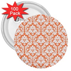 White On Orange Damask 3  Button (100 Pack) by Zandiepants